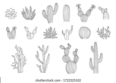 Collection of isolated outline black vector cactus and succulents elements.