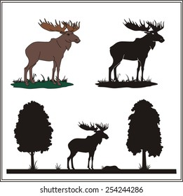 Collection of isolated profile and silhouette of moose on white background.