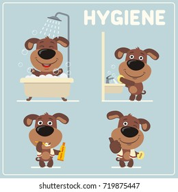 Collection isolated of puppy dog in cartoon style for rules of child hygiene: showering, washing hands, brushing teeth.