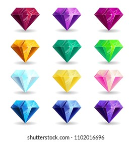 A collection of isolated realistic diamond of different colors. Jewelry for mobile games or design