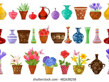 collection isolated seamless borders with lovely flowers in ethnic flowerpots and cute vases for your design