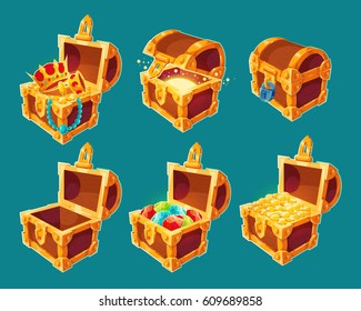 Collection of isolated vector cartoon illustrations of wooden chests with treasures of gold coins and jewels