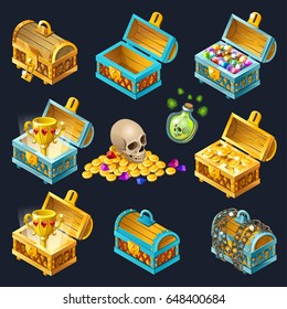 Collection of isolated wooden chests with treasures, gold coins and jewels. Vector illustration
