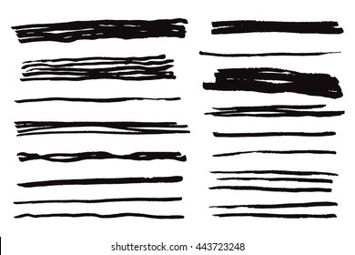 Collection of the isoleted black ink line brush strokes. Hand-drawn vector marker illustration