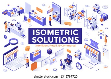 Collection of isometric design elements isolated on white background - robotics and intelligent retail, automated order fulfillment, internet shopping, online store. Creative vector illustration.