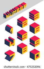 Collection of isometric numbers. Vector illustration