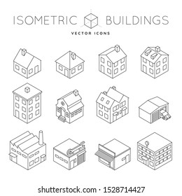 Collection of isometric outline icons of a variety of private and commercial buildings like detached house, office buiding, factory, tenement. Architecture and real estate concept vector illustration