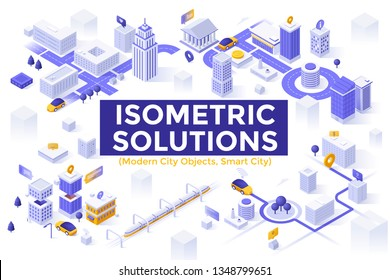 Collection of isometric symbols or objects isolated on white background - modern smart city, urban planning and development, transportation, infrastructure buildings. Creative vector illustration.