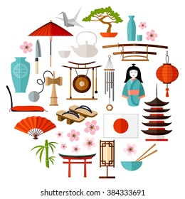 Collection Of Japanese object, souvenirs, accessories. traditional Japan symbols. icons set in the shape of a circle. Japan-themed design elements. Vector illustration.