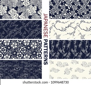Collection of Japanese pattern vector blue and white. Illustration with asian traditional accessories, hand drawn background. Decorative wallpaper, good for printing.