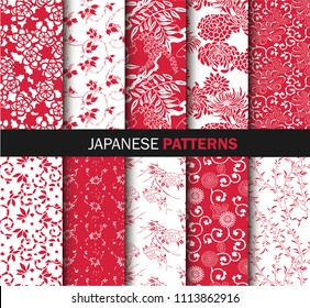 Collection of Japanese pattern vector red and white. Illustration with asian traditional accessories, hand drawn background. Decorative wallpaper, good for printing.