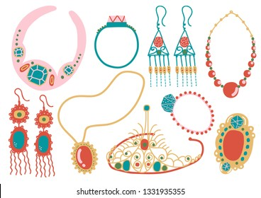 Collection of Jewelry Accessories, Necklace, Earrings, Pendant, Tiara Vector Illustration