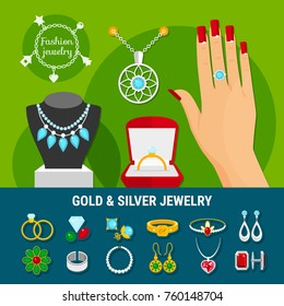 Collection of jewelry icons with fashion gold and silver rings, earrings, brooch, studs, bangles isolated vector illustration
