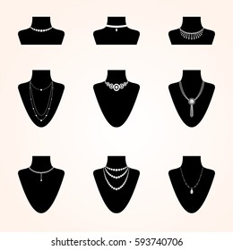 Collection of jewerly icons. Different types of bijouterie accessories