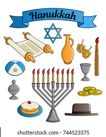 Collection of the Jewish holiday Hanukkah symbols. Traditional candlestick, candle, star of David, hat, donut, cup of wine, jug of oil, dreidel with Hebrew letters, Torah scroll, incense box. Vector