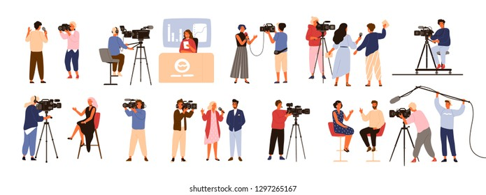 Collection of journalists, talk show hosts interviewing people, news presenters and cameramen or videographers with cameras isolated on white background. Vector illustration in flat cartoon style.