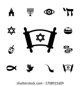 Collection of Judaism icons. Religion solid icon.