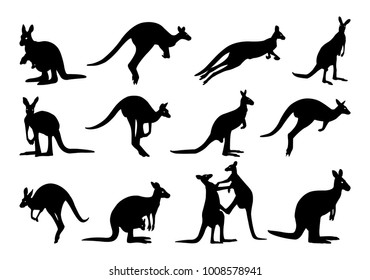collection of kangaroo silhouette. kangaroo silhouette