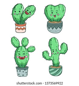 Collection of kawaii cactus with funny expression by using colored doodle style