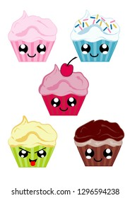 Collection with kawaii cupcakes. Vector file eps 10