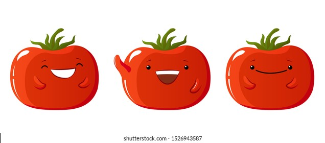 Collection of kawaii tomatoes characters. Tomato vector icons set, Emotion Variation: smile, happy. Cartoon style design elements. Illustration for animation or sticker. White background