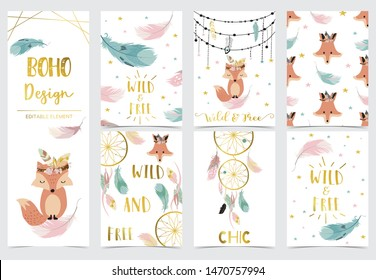 Collection of kid invitation set with feather,fox,wild,geometric,dreamcatcher.Vector illustration for baby shower,birthday invitation,postcard and sticker.Editable element