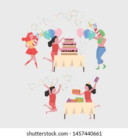 Collection of kids celebrating a birthday party