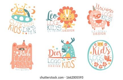 Collection of Kids Logo Original Design Templates with Cute Animals, Childish Colorful Hand Drawn Badges Vector Illustration on White Background.