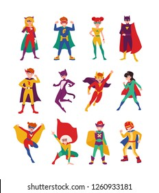 Collection of kids superheroes. Bundle of boys and girls with super powers. Set of strong and brave children wearing tight-fitting costumes and capes. Vector illustration in flat cartoon style.