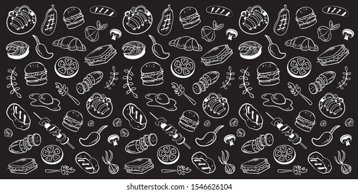 Collection of kitchen elements. Food. Barbecue and grill sketches on Board. Drawn barbecue elements around the text. Grill time. Roast meat grill chicken mushroom steaks burgers. Bbq vector