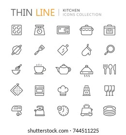 Collection of kitchen thin line icons.