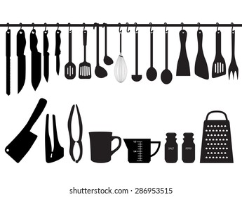A collection of kitchen utensils, hanging on bar and under the bar. Silhouette Illustration