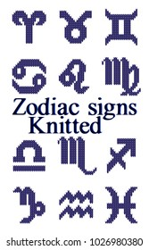 Collection knitted zodiac signs isolated on white background.  Vector Illustration