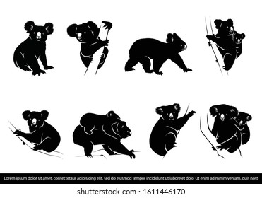 collection of koala bear silhouette. koala bear silhouette. vector illustration