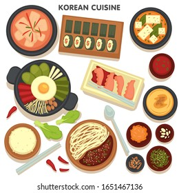 Collection of Korean cuisine dishes and plates, menu of Asian restaurant. Noodles and vegetables, kimbap and fried egg with veggies, kimchi and spices. Jajangmyeon and hobakjuk recipes vector