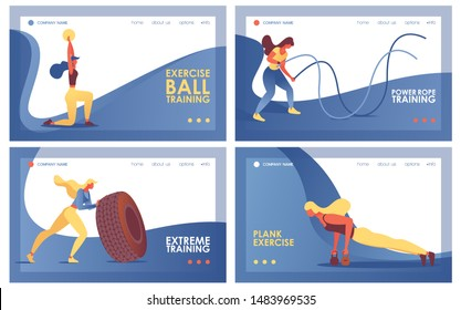 Collection of landing pages template or horizontal banners concepts good for extreme training at gym with tire, ball, power rope and weights, decorated with blue waves, good for web pages header