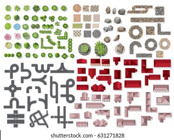 Collection for landscape,tree top view, stone floor texture, road plan, city Map, house,  interior design, vector illustration