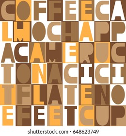 Collection of latin letters, seamless pattern vector. English alphabet. Colorful coffee-colored background. Decorative wallpaper, good for printing. Poster with latin abc made in modern style