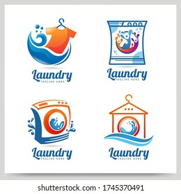 Collection of laundry logo design. Graphic design element. Vector illustration
