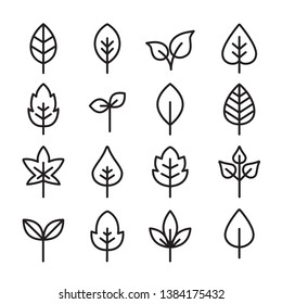 Collection Of Leaves Icons - can illustrate any topic about nature or ecology and environment
