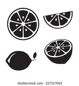 Collection of lemons, icons set, black isolated on white background, vector illustration.