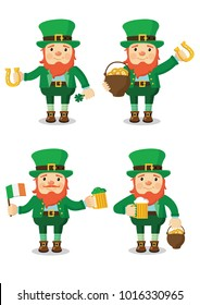 Collection of Leprechaun for Saint Patrick's day. Vector set. Isolated.