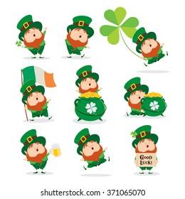 Collection of Leprechaun for Saint Patricks design.