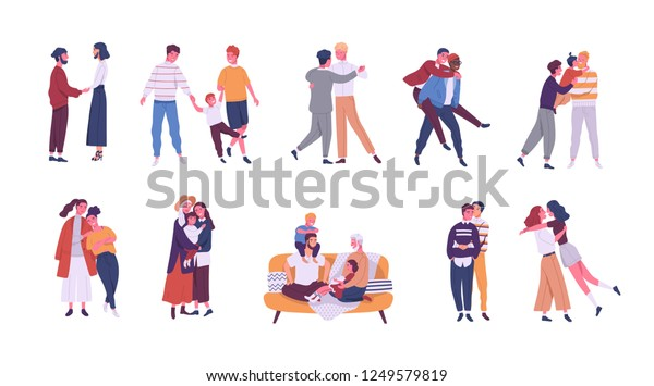 Collection of LGBT or couples and families with children. Bundle of male, female and transgender romantic partners isolated on white background. Vector illustration in flat cartoon style.
