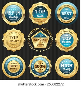 Collection of light blue top quality badges with gold border