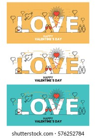 Collection of light brown, light Skye, white colored Valentine's day card, Vector illustration EPS10