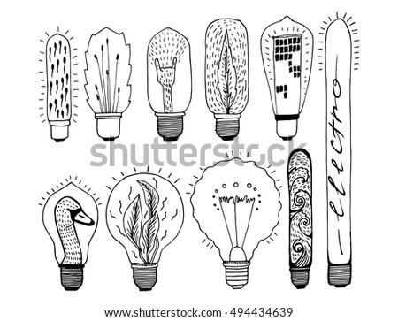 Collection Light Bulbs Lamps Electrical Devices Stock Vector