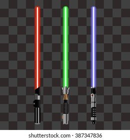 Collection of Light Futuristic Swords from Star Wars. Design Elements for Your Projects. Vector illustration.