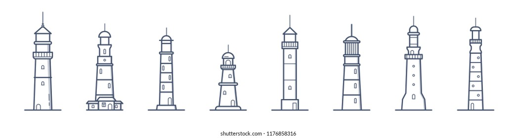 Collection of lighthouses of various types drawn with contour lines on white background. Bundle of coastal towers, buildings or constructions for marine navigation. Monochrome vector illustration.