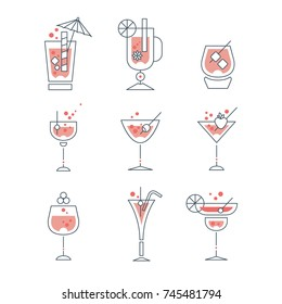 Collection of line alcoholic cocktails and beverages